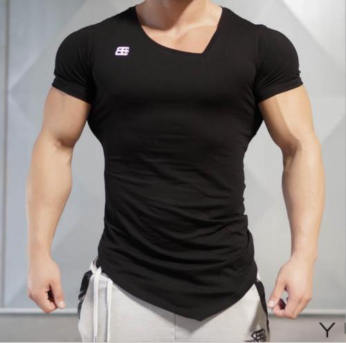 Fitness Sport Stringer T-shirt Top Männer Fitness Bodybuilder Slim Schnitt Tee