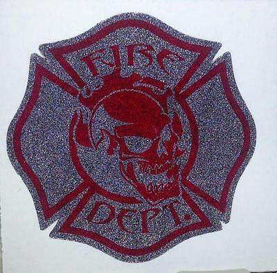"""Firefighter Window Decals, Reflective 2.25"""", Skull Black and Red  #FD103"""