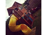 Children's cedar summit play area swing set and slide