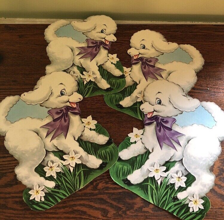 "VTG DIECUT CARDBOARD DECORATION Easter Lambs 4 LARGE 12"" USA"