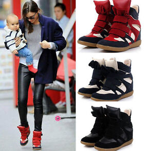 Leather-Womens-Hidden-Wedge-Boots-Velcro-Strap-High-Top-Sneakers-Shoes-All-Size