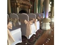 Chair covers, sashes hire, charger plates, wedding or events venue decoration Nottingham