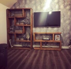 Solid wood living room furniture, shelving unit/bookcase and tv unit