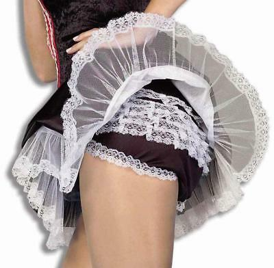 Women's French Maid Lace Panties Black White Costume Accessory