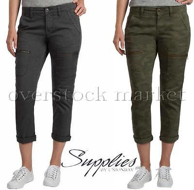 NEW WOMENS SUPPLIES BY UNIONBAY CARGO CAPRI PANT JEAN! ADJUSTABLE CUFF! VARIETY