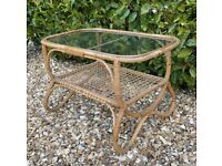 Vintage 70s Rattan Bamboo Cane & Glass Top Coffee Table