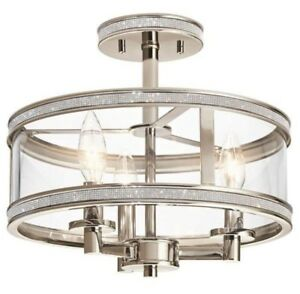 RHINESTONE SEMI FLUSH MOUNT LIGHT FIXTURE