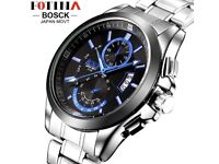BOSCK Mens Casual Silver & Blue Business Watch