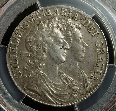 Click now to see the BUY IT NOW Price! 1689 GREAT BRITAIN WILLIAM & MARY. SILVER  CROWN. UNLISTED VARIETY PCGS AU53