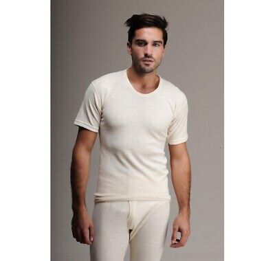 MEN  MERINO  WOOL      THERMAL     SHORT   SLEEVE  TOP  UNDERWEAR