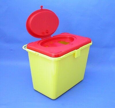 Kanülenabwurf ➤ 6 Liter, eckig, Entsorgungsbox, Kanülensammler, med. Abfalleimer