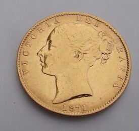 1871 Gold Sovereign - Victoria Young Head Shield Back- London full sovereign 8 grams