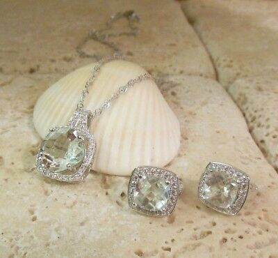 Sterling Silver 925 PRASIOLITE Halo Necklace & Earring Set A Great Gift Idea!