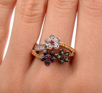 18k White Gold Diamond Sapphire Ruby Tsavorite Baguette Flower Ring Stunning! Baguette Diamond Flower