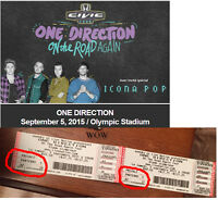 ONE DIRECTION On the Road Again FLOOR seats 200$ le paire