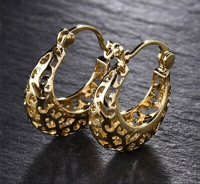 Bright gold filled hollow cut out small hoop earrings  - Gold Small Cut Out