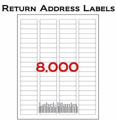 8000 Laser/Ink Jet Labels Return Address Fits Size 5167.100 Sheets 1.75 .5 Address Label Templates