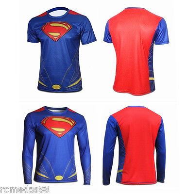 Halloween Superhero Superman Costume Tee Short/Long Sleeve T-Shirt Sports Jersey (Costume Tee)