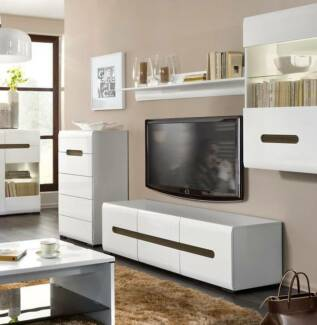 4 pce. TV UNIT/STORAGE SET white gloss ...A2 Malaga Swan Area Preview