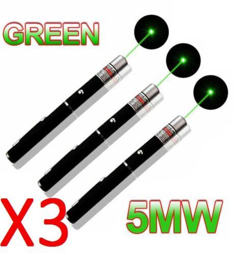 5MW Laser Pointer Pen Green Light Beam Powerful Hot Sale 3 PCS