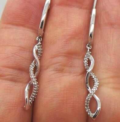 STUNNING 14K WG DIAMOND DANGLING EARRING .20 tcw  AI-904  2.15 grams  14k Wg Diamond Dangle