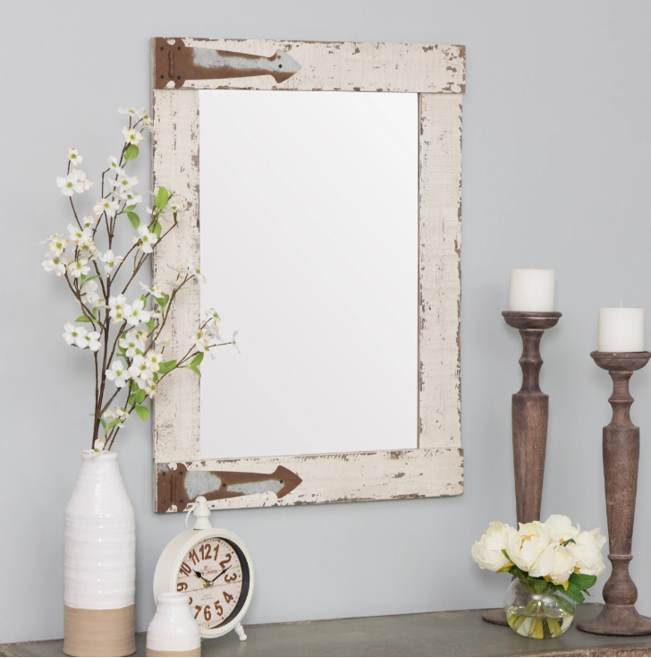 Rustic Farmhouse Vanity Wall Mirror Reclaimed Wood Distresse