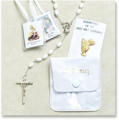 First Holy Communion 4-Piece Gift Set GIRL (Rosary, Rosary Case, Pin, - First Communion Pin