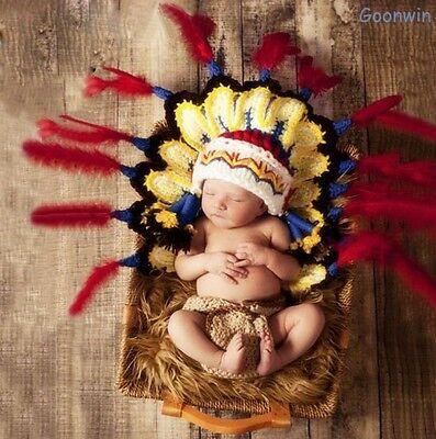 Neugeborene Baby Indisch Kostüm Knit Strick Fotografie Mütze (Indische Kostüme Accessoires)