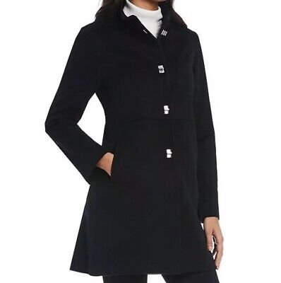 Katherine Kelly Classic Stand Collar Single Breasted Wool Coat Size 14