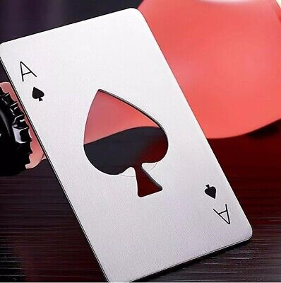 3Pcs Poker Playing Card Ace of Spades Stainless Steel Metal Beer Bottle Opener