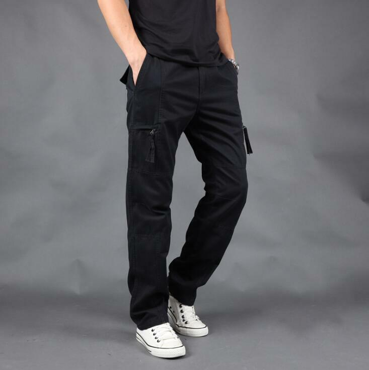 Summer Men Casual Multi-pocket Outdoor Straight Bamboo Overalls Pants Trousers N