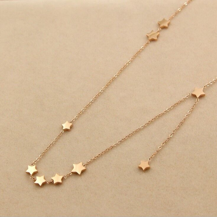 18K Rose Gold 9 Stars Stainless Steel Pendant Necklace