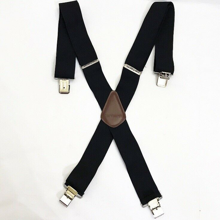 Carhartt Utility Clip-on Suspenders Black Chrome Leather Patch Hipster