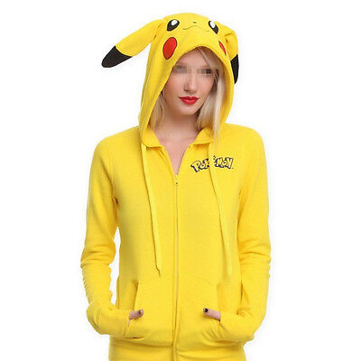 Pikachu Tail (Pokemon Anime Jacket  Pikachu Cosplay Ears Face Tail Zip Hoody Sweatshirt)