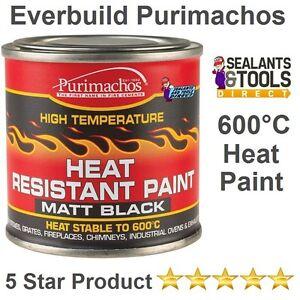 Matt Black Wood Burner Stove Exhaust Ovens Metal Heat Resistant Proof Paint Tin