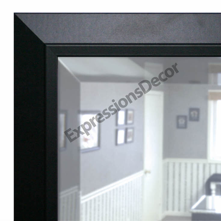 Custom Satin Black Beveled Contemporary Wall Mirror, Mantle