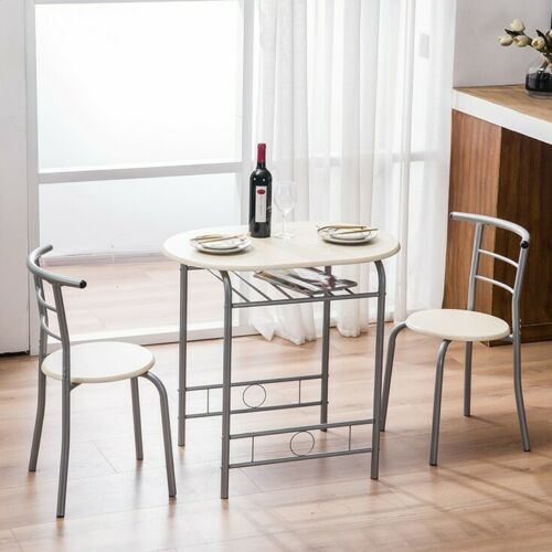 3 Piece Metal Dining Table Set 2 PVC Chairs Kitchen Breakfas