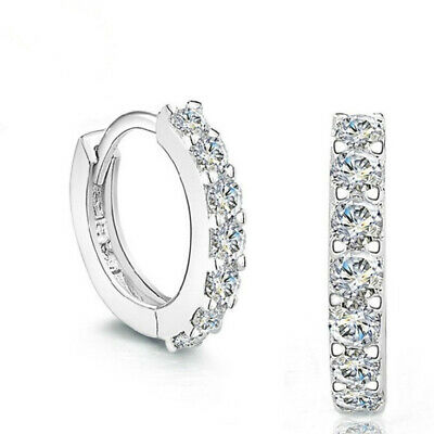 Jewellery - 925 Sterling Silver Huggie Hoop Stone Stud Earrings Womens Girls Jewellery Gift