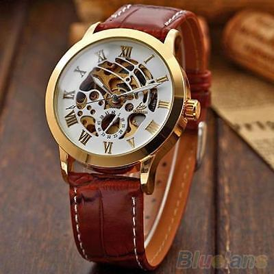 $15.03 - MEN'S LUXURY MECHANICAL AUTOMATIC SKELETON SPORT WATCH LEATHER STRAP