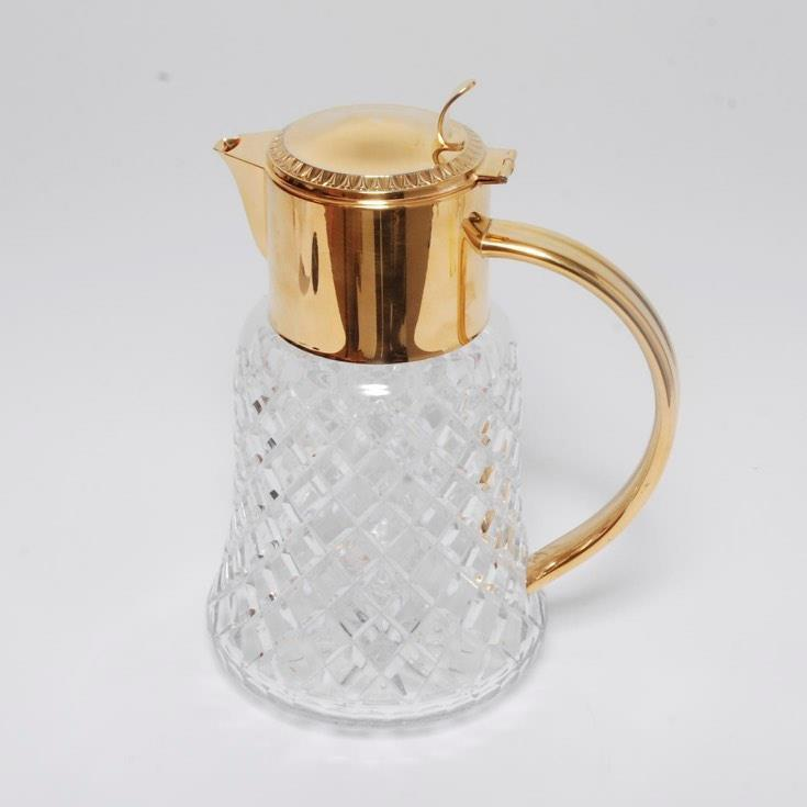 VINTAGE GRAND CUT CRYSTAL PITCHER W/ GOLD-TONE MOUNTS & HANDLE, ICE INSERT