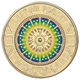 Australia ANZAC 2017 $2 dollar colour remembrance coin