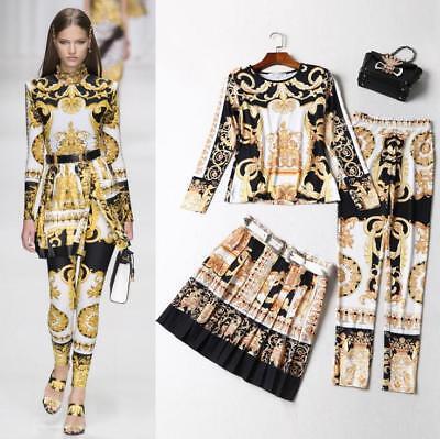 2018 Wholesale Fashion Print Shirt Blouse Pleated Skirt Pants 3pcs Suit Women sz - Wholesale Womens Suits