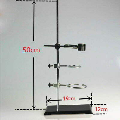 50cm Lab Support Stands Platform Chemistry Bottle Tube Clamp Bracket2ring Sale