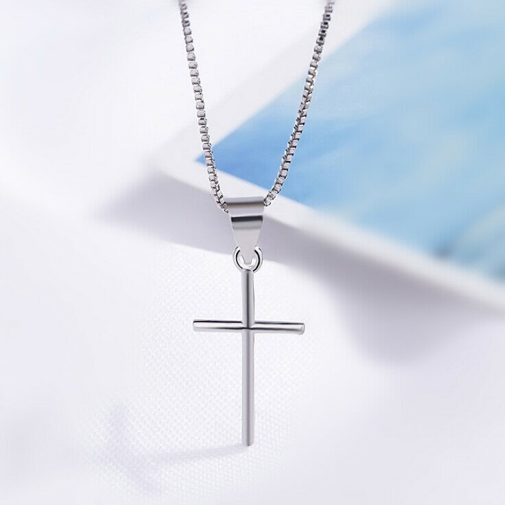 Jewellery - New Cross Pendant 925 Sterling Silver Chain Necklace Womens Girls Jewellery Gift