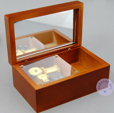 """Play """"Canon in D Major"""" Wooden Sankyo Vintage Music Box With a Jewelry Box"""