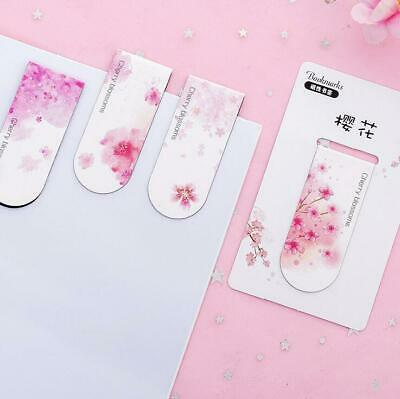 4pcs Creative Cherry blossoms Magnetic Bookmarks Paper Clip School Office Supply