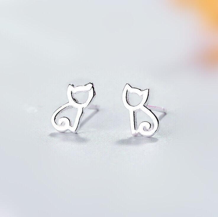 Jewellery - 925 Sterling Silver Cutie Cat Hollow Stud Earrings Womens Girls Jewellery Gift