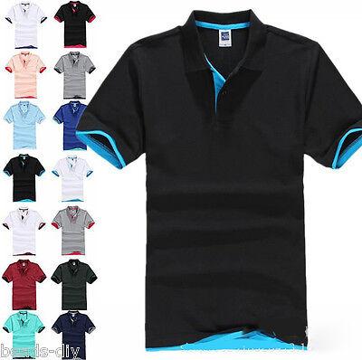 Hot Men's New Fashion Short Sleeve Collar Work T-shirt Cotton  Shirt Tops GW