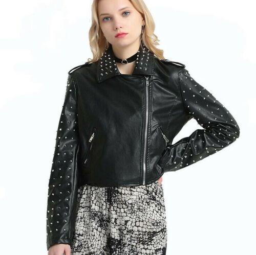 Punk Rock Womens Rivets Shoulder Faux Leather Jacket Biker Motorcycle Short Coat