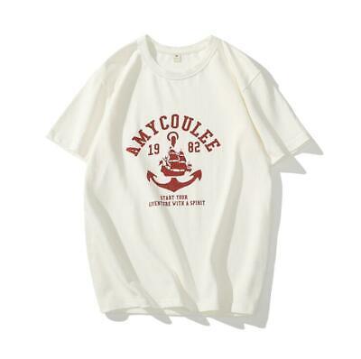 Summer short-sleeved round neck cotton T-shirt retro sailing boat print